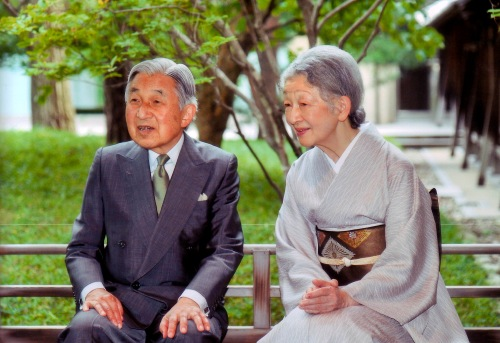 Handout photo of Japan's Emperor Akihito and Empress Michiko are seen at the Imperial Palace in Tokyo