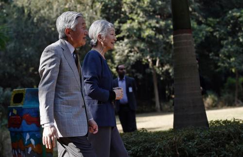 Japan's Emperor Akihito and Empress Michiko visit the Lodhi garden in New Delhi