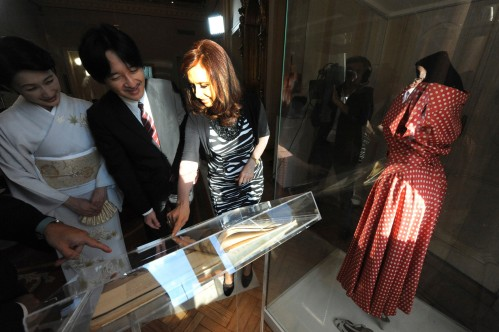 Argentina's President Cristina Fernandez de Kirchner shows memorabilia from former first Lady Evita Peron to Japan's Prince Akishino and his wife Princess Kiko before private meeting at the Casa Rosada Presidential Palace in Buenos Aires
